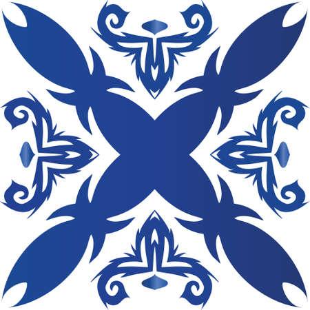 Decorative color ceramic azulejo tiles. Fashionable design. Vector seamless pattern theme. Blue folk ethnic ornament for print, web background, surface texture, towels, pillows, wallpaper.