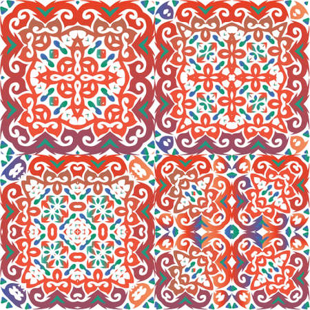 Traditional ornate mexican talavera. Kit of vector seamless patterns. Hand drawn design. Red abstract backgrounds for web backdrop, print, pillows, surface texture, wallpaper, towels.