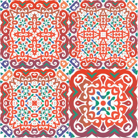 Mexican ornamental talavera ceramic. Collection of vector seamless patterns. Stylish design. Red vintage backdrops for wallpaper, web background, towels, print, surface texture, pillows.