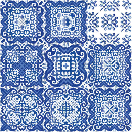 Antique portuguese azulejo ceramic. Vector seamless pattern frame. Colored design. floral and abstract decor for scrapbooking, smartphone cases, T-shirts, bags or linens. Vetores