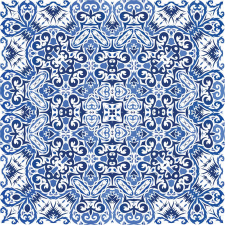 Portuguese ornamental azulejo ceramic. Vector seamless pattern poster. Fashionable design. Blue vintage backdrop for wallpaper, web background, towels, print, surface texture, pillows.