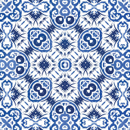 Portuguese ornamental azulejo ceramic. Vector seamless pattern theme. Minimal design. Blue vintage backdrop for wallpaper, web background, towels, print, surface texture, pillows.