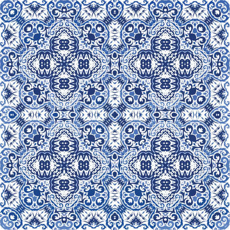 Ornamental azulejo portugal tiles decor. Vector seamless pattern poster. Colored design. Blue gorgeous flower folk print for linens, smartphone cases, scrapbooking, bags or T-shirts.