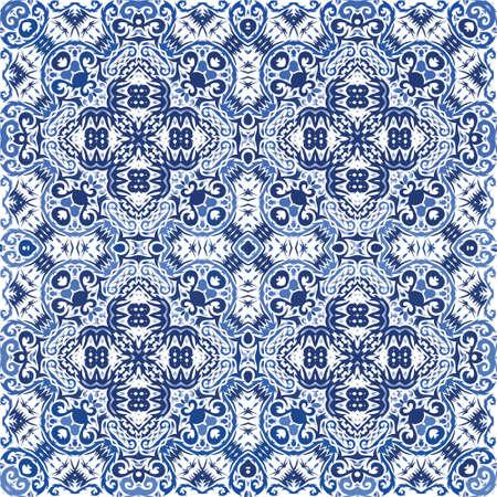 Décor ornemental de carreaux azulejos portugais. Affiche de modèle sans couture de vecteur. Conception colorée. Imprimé folklorique de fleurs magnifiques bleues pour le linge de maison, les étuis pour smartphone, le scrapbooking, les sacs ou les t-shirts.