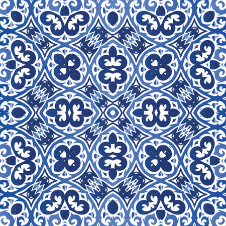 Ceramic tiles azulejo portugal. Vector seamless pattern collage. Graphic design. Blue ethnic background for T-shirts, scrapbooking, linens, smartphone cases or bags.