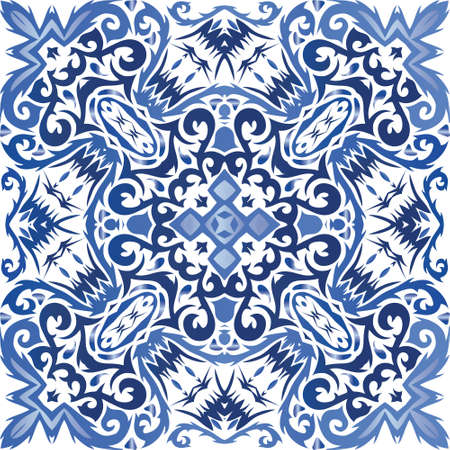 Traditional ornate portuguese azulejo. Vector seamless pattern collage. Kitchen design. Blue abstract background for web backdrop, print, pillows, surface texture, wallpaper, towels.