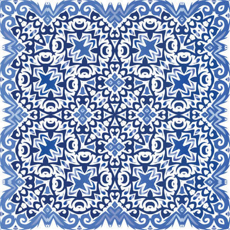 Portuguese ornamental azulejo ceramic. Vector seamless pattern theme. Hand drawn design. Blue vintage backdrop for wallpaper, web background, towels, print, surface texture, pillows.