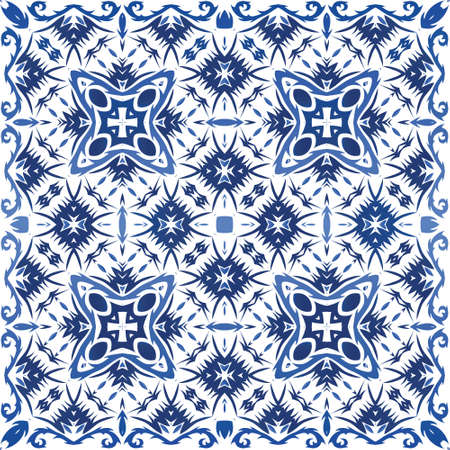 Decorative color ceramic azulejo tiles. Vector seamless pattern poster. Creative design. Blue folk ethnic ornament for print, web background, surface texture, towels, pillows, wallpaper.