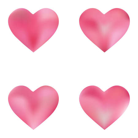 Kit of colorful backgrounds hearts. Soft color valentine's day card. Simple fashion style of 90th, 80th. Pink elegant and effective, smooth blurred modern gradient covers.