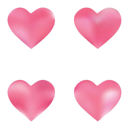 Collection of abstract backgrounds hearts. Soft color effect. Holographic fashion style of 90th, 80th. Pink smooth elegant colored, and easy editable modern gradient templates. Ilustração