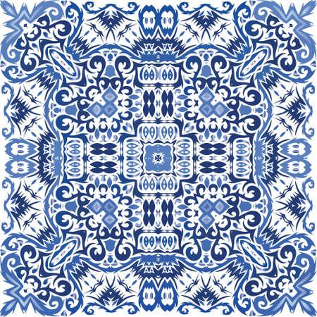 Decorative color ceramic azulejo tiles. Stylish design. Vector seamless pattern watercolor. Blue folk ethnic ornament for print, web background, surface texture, towels, pillows, wallpaper. Vetores