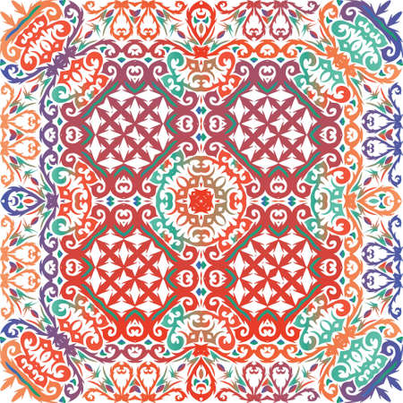 Antique ornate tiles talavera mexico. Vector seamless pattern flyer. Universal design. Red ethnic background for T-shirts, scrapbooking, linens, smartphone cases or bags.