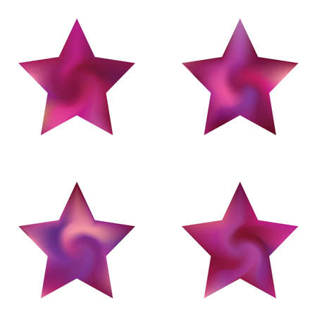 Collection of pentagram smooth backgrounds. Trendy soft color element. Flat style of 90th, 80th. Violet elegant and easy editable colorful fluid covers for your creative projects.