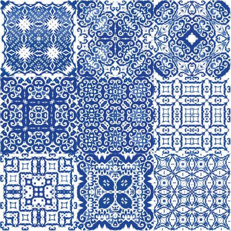 Decorative color ceramic azulejo tiles. Vector seamless pattern poster. Bathroom design. folk ethnic ornament for print, web background, surface texture, towels, pillows, wallpaper. Ilustración de vector