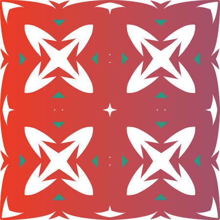 Ethnic ceramic tile in mexican talavera. Stylish design. Vector seamless pattern elements. Red vintage ornament for surface texture, towels, pillows, wallpaper, print, web background.
