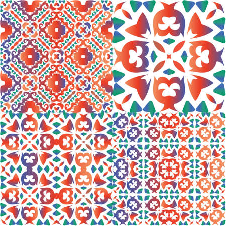 Traditional ornate mexican talavera. Stylish design. Kit of vector seamless patterns. Red abstract backgrounds for web backdrop, print, pillows, surface texture, wallpaper, towels.