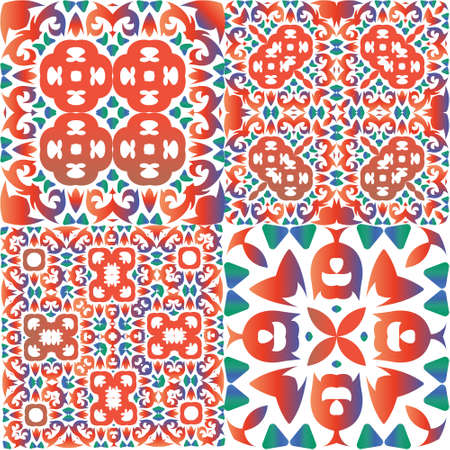 Decorative color ceramic talavera tiles. Kit of vector seamless patterns. Bathroom design. Red folk ethnic ornaments for print, web background, surface texture, towels, pillows, wallpaper.