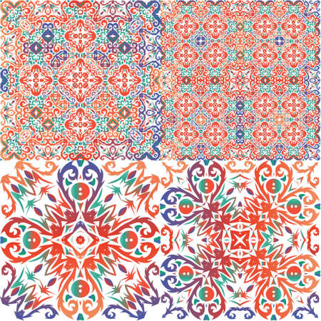 Mexican ornamental talavera ceramic. Set of vector seamless patterns. Colored design. Red vintage backdrops for wallpaper, web background, towels, print, surface texture, pillows.