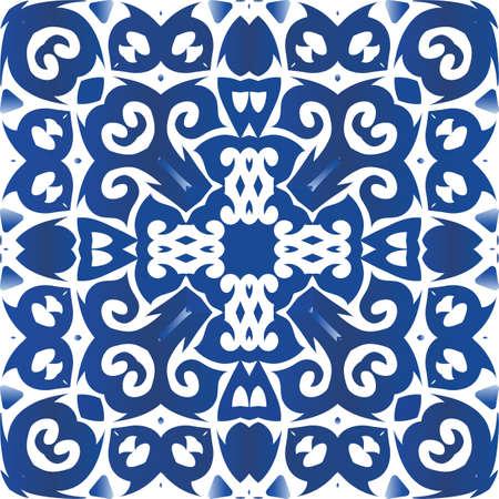 Portuguese vintage azulejo tiles. Vector seamless pattern theme. Stylish design. Blue antique background for pillows, print, wallpaper, web backdrop, towels, surface texture. Vetores
