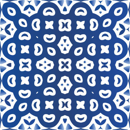 Decorative color ceramic azulejo tiles. Vector seamless pattern template. Fashionable design. Blue folk ethnic ornament for print, web background, surface texture, towels, pillows, wallpaper.