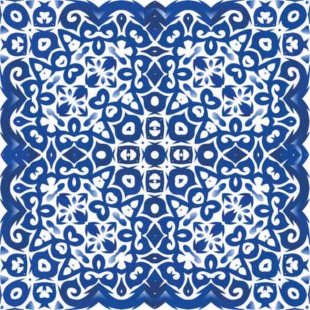 Portuguese vintage azulejo tiles. Modern design. Vector seamless pattern template. Blue antique background for pillows, print, wallpaper, web backdrop, towels, surface texture.