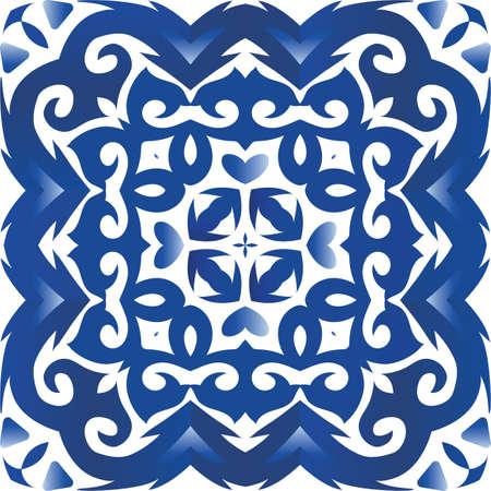 Portuguese vintage azulejo tiles. Graphic design. Vector seamless pattern collage. Blue antique background for pillows, print, wallpaper, web backdrop, towels, surface texture.