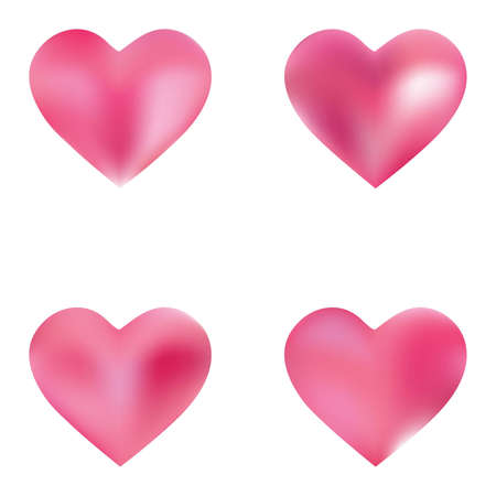 Kit of modern backgrounds hearts. Cool fashion style of 90th, 80th. Soft color logo. Pink fluid colorful gradient shapes for your mobile app and screens.