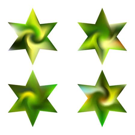 Sammlung von hexagrammfarbenen Hintergründen. Unterzeichnen Sie heilige religiöse Symbole. Gutes weiches Farbpastell. Grüne Öko-Fluid-Vorlagen für Ihr Poster, Ihre Präsentation, Ihre Einladung, Ihre Broschüre oder Ihre Karten.