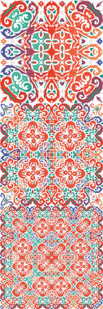 Mexican vintage talavera tiles. Hand drawn design. Kit of vector seamless patterns. Red antique backgrounds for pillows, print, wallpaper, web backdrop, towels, surface texture.