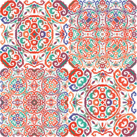 Antique talavera tiles patchworks. Set of vector seamless patterns. Original design. Red mexican ornamental decor for bags, smartphone cases, T-shirts, linens or scrapbooking.