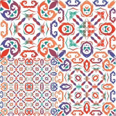 Ornamental talavera mexico tiles decor. Kit of vector seamless patterns. Minimal design. Red gorgeous flower folk prints for linens, smartphone cases, scrapbooking, bags or T-shirts.