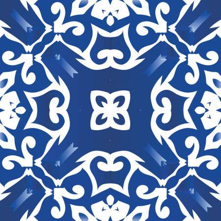 Decorative color ceramic azulejo tiles. Vector seamless pattern trellis. Modern design. Blue folk ethnic ornament for print, web background, surface texture, towels, pillows, wallpaper.