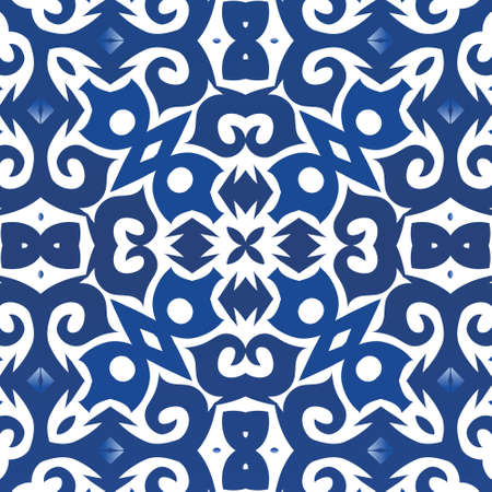 Ethnic ceramic tile in portuguese azulejo. Vector seamless pattern theme. Universal design. Blue vintage ornament for surface texture, towels, pillows, wallpaper, print, web background.