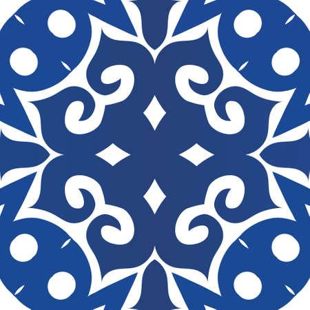 Portuguese vintage azulejo tiles. Vector seamless pattern concept. Bathroom design. Blue antique background for pillows, print, wallpaper, web backdrop, towels, surface texture.