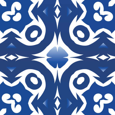 Ceramic tiles azulejo portugal. Vector seamless pattern poster. Fashionable design. Blue ethnic background for T-shirts, scrapbooking, linens, smartphone cases or bags.