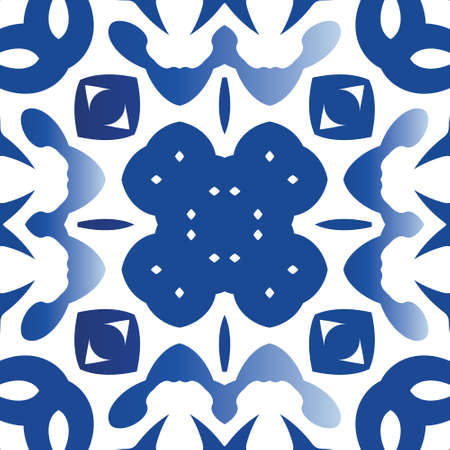 Ethnic ceramic tile in portuguese azulejo. Minimal design. Vector seamless pattern frame. Blue vintage ornament for surface texture, towels, pillows, wallpaper, print, web background.