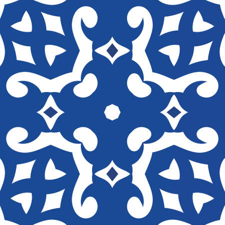Traditional ornate portuguese azulejo. Minimal design. Vector seamless pattern collage. Blue abstract background for web backdrop, print, pillows, surface texture, wallpaper, towels. Vectores