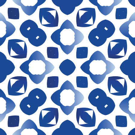 Traditional ornate portuguese azulejo. Vector seamless pattern collage. Stylish design. Blue abstract background for web backdrop, print, pillows, surface texture, wallpaper, towels. Vectores