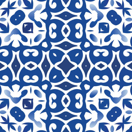 Ceramic tiles azulejo portugal. Vector seamless pattern frame. Bathroom design. Blue ethnic background for T-shirts, scrapbooking, linens, smartphone cases or bags.