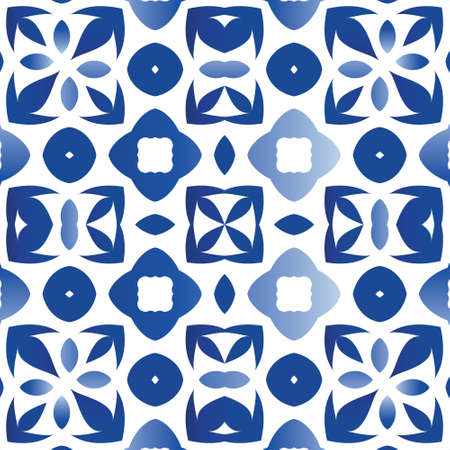 Ceramic tiles azulejo portugal. Fashionable design. Vector seamless pattern collage. Blue ethnic background for T-shirts, scrapbooking, linens, smartphone cases or bags.