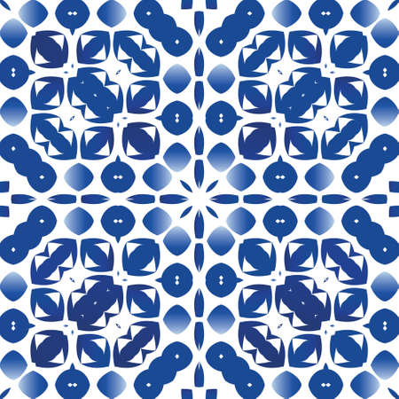 Antique portuguese azulejo ceramic. Vector seamless pattern elements. Modern design. Blue floral and abstract decor for scrapbooking, smartphone cases, T-shirts, bags or linens. Vectores