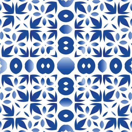 Portuguese ornamental azulejo ceramic. Fashionable design. Vector seamless pattern trellis. Blue vintage backdrop for wallpaper, web background, towels, print, surface texture, pillows.
