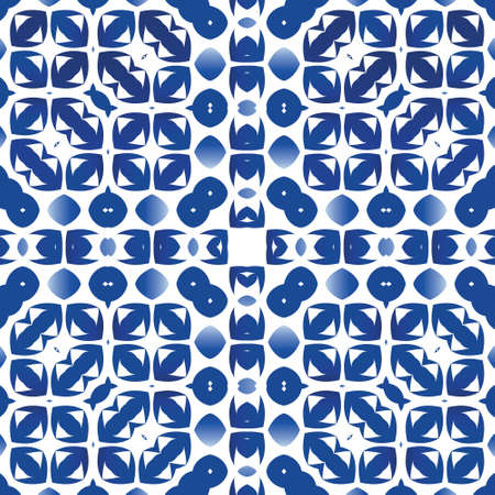 Decorative color ceramic azulejo tiles. Vector seamless pattern poster. Universal design. Blue folk ethnic ornament for print, web background, surface texture, towels, pillows, wallpaper.