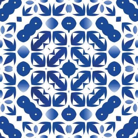 Portuguese vintage azulejo tiles. Vector seamless pattern trellis. Stylish design. Blue antique background for pillows, print, wallpaper, web backdrop, towels, surface texture.