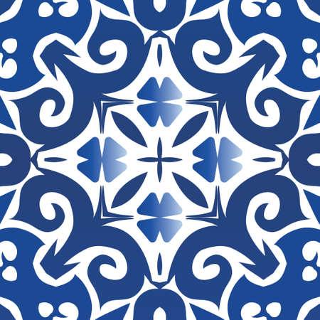 Portuguese ornamental azulejo ceramic. Modern design. Vector seamless pattern arabesque. Blue vintage backdrop for wallpaper, web background, towels, print, surface texture, pillows.