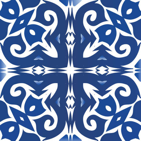Traditional ornate portuguese azulejo. Vector seamless pattern trellis. Hand drawn design. Blue abstract background for web backdrop, print, pillows, surface texture, wallpaper, towels.