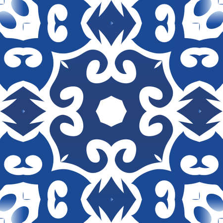 Ornamental azulejo portugal tiles decor. Vector seamless pattern theme. Colored design. Blue gorgeous flower folk print for linens, smartphone cases, scrapbooking, bags or T-shirts.