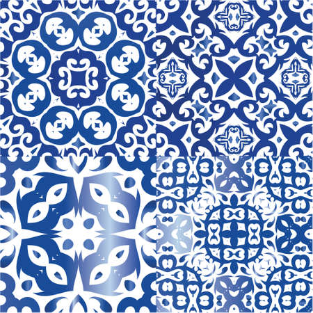 Decorative color ceramic azulejo tiles. Kit of vector seamless patterns. Modern design. Blue folk ethnic ornaments for print, web background, surface texture, towels, pillows, wallpaper.