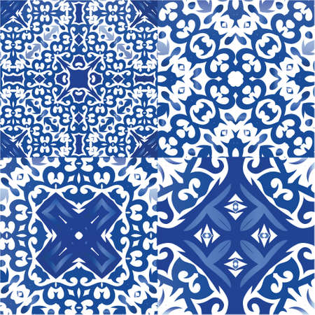 Traditional ornate portuguese azulejos. Collection of vector seamless patterns. Creative design. Blue abstract backgrounds for web backdrop, print, pillows, surface texture, wallpaper, towels. Vectores
