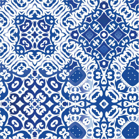 Portuguese ornamental azulejo ceramic. Hand drawn design. Set of vector seamless patterns. Blue vintage backdrops for wallpaper, web background, towels, print, surface texture, pillows.